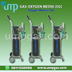 Jual Tabung Oxygen Medis Set - 1m3 + Trolley + Regulator